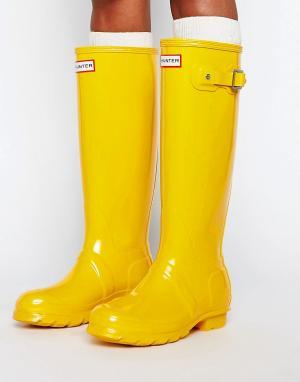 Hunter Желтые высокие резиновые сапоги Original. Цвет: желтый