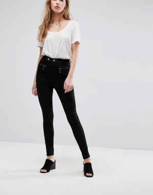 ASOS Черные джинсы с корсетной отделкой SCULPT ME Premium. Цвет: черный