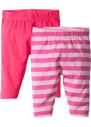 Для малышей: легинсы из биохлопка (2 шт.) (ярко-розовый гибискус/розовый/фуксия) bonprix. Цвет: ярко-розовый гибискус/розовый/фуксия