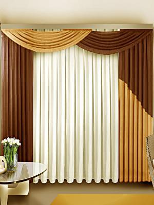 Комплект штор ZLATA KORUNKA. Цвет: коричневый, бежевый, белый