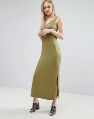 ADPT Платье-майка миди. Цвет: зеленый