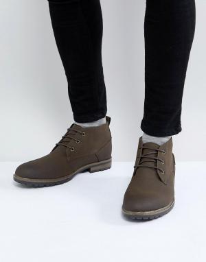 New Look Темно-коричневые ботинки чукка. Цвет: коричневый