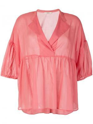 Блузка с баской Odeeh. Цвет: розовый и фиолетовый