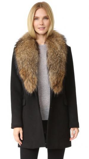 Шерстяное пальто со съемным меховым воротником Doma. Цвет: голубой