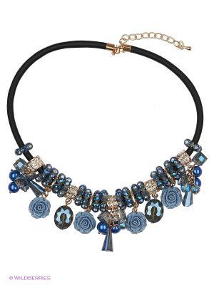 Колье by LA STRASA. Цвет: черный, синий, серо-голубой, голубой, золотистый