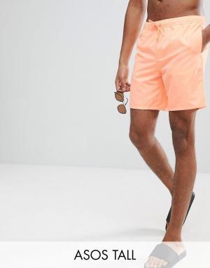 ASOS Оранжевые шорты для плавания средней длины TALL. Цвет: оранжевый