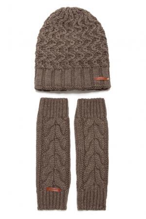 Комплект из шерсти с вискозой (шапка и митенки) 156366 Noryalli