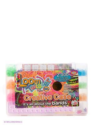 Набор для плетения браслетов из резинок Loom Twister. Цвет: голубой, желтый, зеленый, красный, розовый, фиолетовый, черный