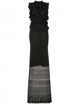 Кружевное платье с оборками Ronny Kobo. Цвет: чёрный