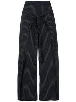 Укороченные брюки в тонкую полоску Yigal Azrouel. Цвет: чёрный