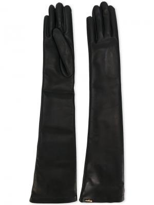 Длинные кожаные перчатки Salvatore Ferragamo. Цвет: чёрный