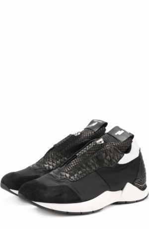 Комбинированные кроссовки с передней молнией Cinzia Araia. Цвет: черный