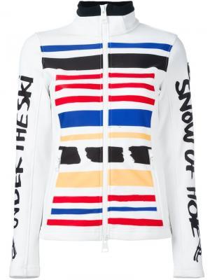 Дутая приталенная куртка в полоску Rossignol. Цвет: белый