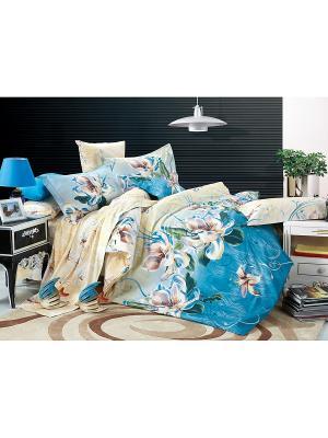 Постельное белье Taina 2,0 сп.Euro Amore Mio. Цвет: синий, голубой, бежевый