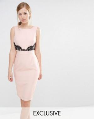 Elise Ryan Платье-футляр с V-образным вырезом сзади и кружевной отделкой Ry. Цвет: розовый