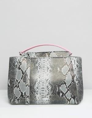 Skinnydip Большая сумка-тоут с эффектом змеиной кожи. Цвет: мульти