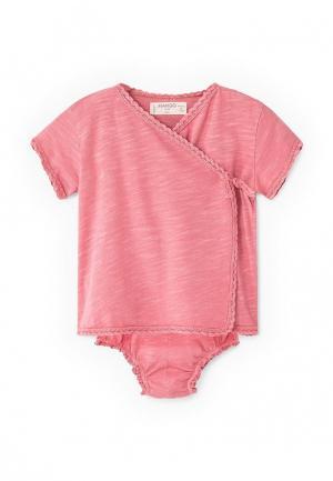 Пижама Mango Kids. Цвет: розовый