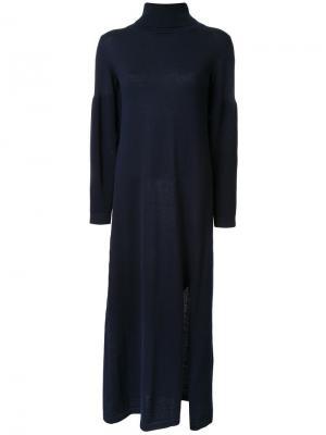 Трикотажное платье со шлицей сбоку Maison Mihara Yasuhiro. Цвет: синий