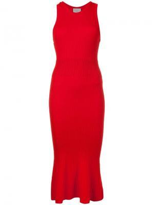 Платье длины миди с отделкой в рубчик Grey Jason Wu. Цвет: красный