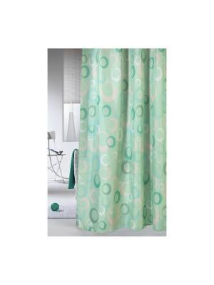 Штора для ванной комнаты 178х180см. Фантазия зеленая NIKLEN. Цвет: зеленый