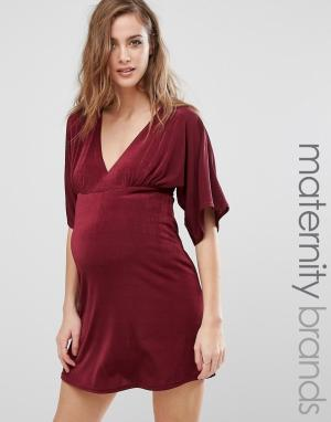 Missguided Maternity Платье для беременных с рукавами-кимоно и V-образным вырезом Missguide. Цвет: красный