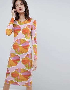 House of Holland Облегающее платье миди с цветочным принтом. Цвет: мульти