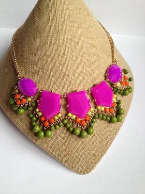 Колье INLOVENY. Цвет: зеленый,фиолетовый,оранжевый