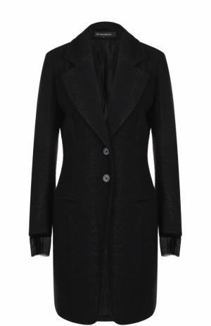 Шерстяное приталенное пальто Ann Demeulemeester. Цвет: черный