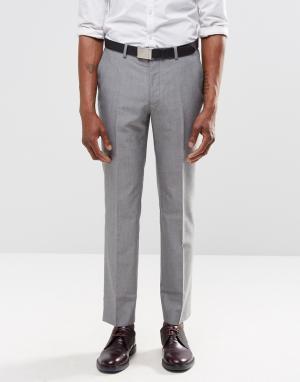 Harry Brown Светло-серые брюки слим. Цвет: серый