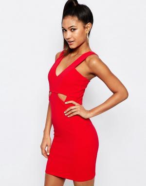 Lipsy Облегающее платье в рубчик с вырезами Ariana Grande for. Цвет: красный