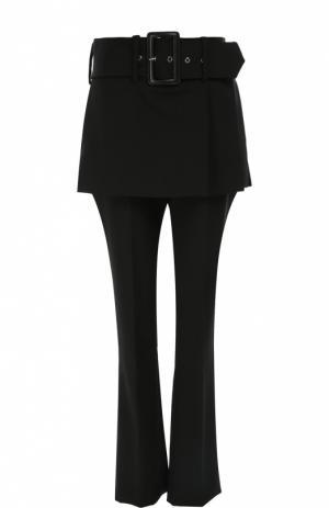 Шерстяные брюки прямого кроя с баской и широким поясом Givenchy. Цвет: черный