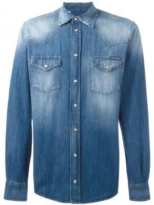 Джинсовая рубашка с потертостями Dolce & Gabbana. Цвет: синий