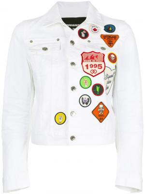 Джинсовая куртка с заплатками Dsquared2. Цвет: белый