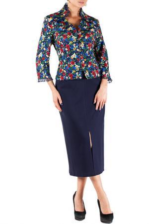 Комплект с юбкой Mannon. Цвет: красно-синий