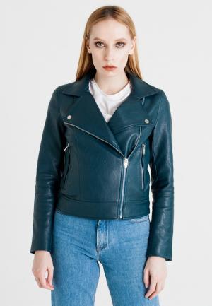 Куртка кожаная UNNA. Цвет: зеленый
