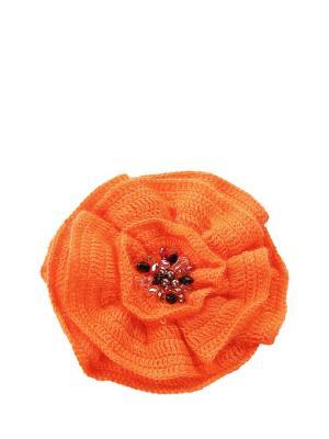 Брошь-цветок вязаный вручную Мак оранжевый расшитый натуральным жемчугом, стразами Swarovski SEANNA. Цвет: оранжевый
