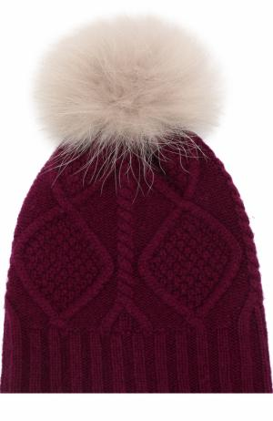 Шерстяная шапка фактурной вязки с меховым помпоном Yves Salomon Enfant. Цвет: бежевый