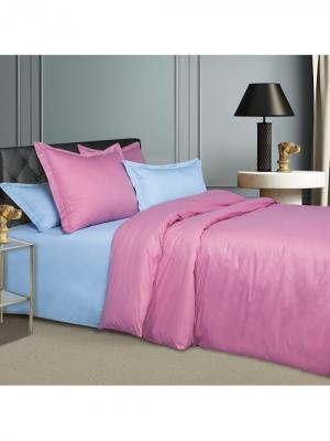 Комплект постельного белья из ткани Сатин в подарочной упаковке Гавайи Арт Постель. Цвет: голубой, розовый
