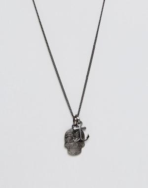 Simon Carter Ожерелье с якорем и черепом. Цвет: мульти