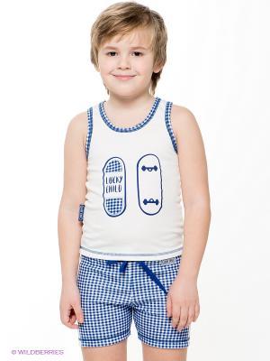 Пижама для мальчика Lucky Child. Цвет: белый, темно-синий
