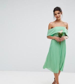 TFNC Платье миди с открытыми плечами, плиссированной юбкой и декоративной о. Цвет: зеленый