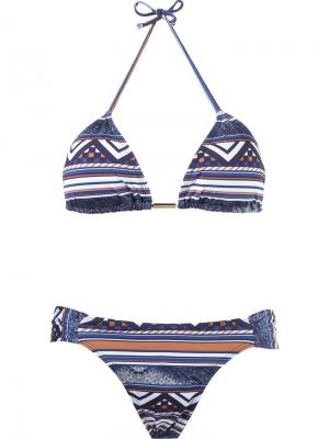 Geometric print triangle top bikini set Brigitte. Цвет: синий