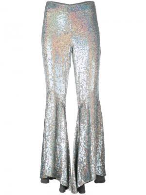 Асимметричные расклешенные брюки с пайетками Ashish. Цвет: металлический