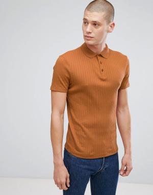 ASOS Светло-коричневая обтягивающая футболка-поло в рубчик. Цвет: коричневый