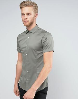 Jack & Jones Суперузкая строгая рубашка-премиум с короткими рукавами. Цвет: зеленый