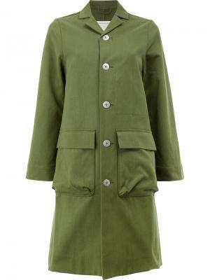 Однобортное пальто милитари Toogood. Цвет: зелёный