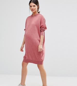 ASOS Maternity Вязаное платье‑худи для беременных. Цвет: розовый