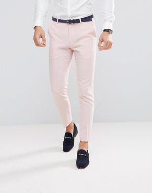 ASOS Розовые брюки скинни Wedding. Цвет: розовый