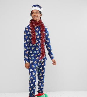 Chelsea Peers Пижамный комплект с принтом Christmas. Цвет: темно-синий