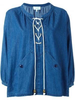 Lace-up denim blouse The Great. Цвет: синий
